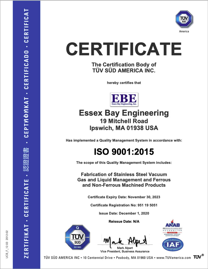 ISO Certification Essex Bay Engineering